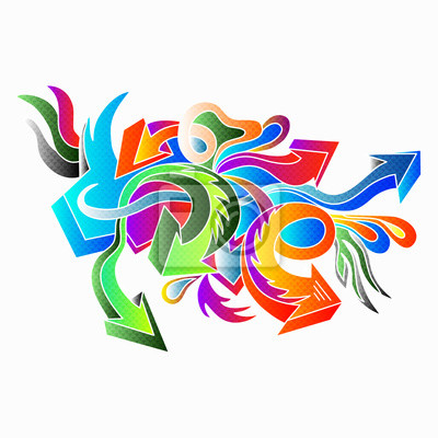 Wall mural graffiti colored arrows on a white background vector illustration