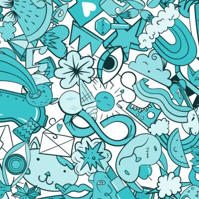 Wall mural Graffiti pattern with urban lifestyle line icons. Crazy doodle abstract vector background. Trendy linear style collage with bizarre street art elements.