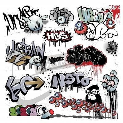 Wall mural graffiti urban art elements