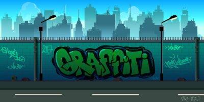 Wall mural Graffiti wall background, urban art