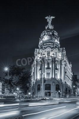 Wall mural Gran via street, main shopping street in Madrid at night. Spain, Europe.