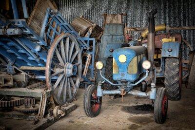 Wall mural grange et tracteur