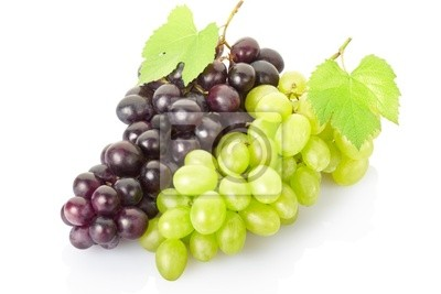 Wall mural Grape cluster isolated on white, clipping path included