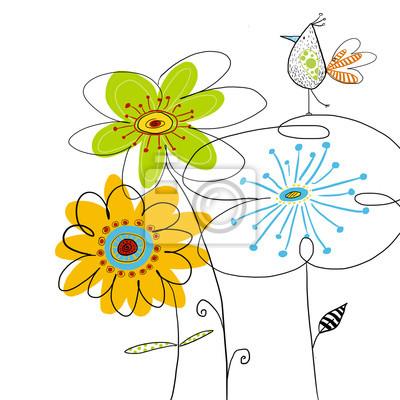 Graphic bird on flowers.Summer floral illustration