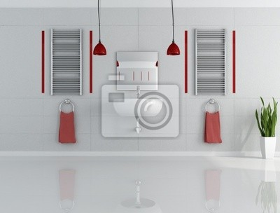 gray and red minimalist bathroom