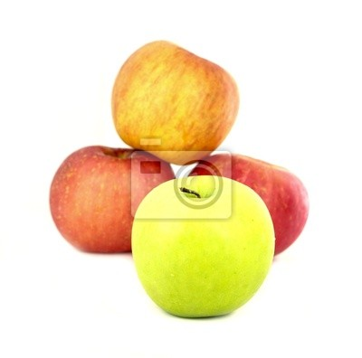 green and red apples on white background