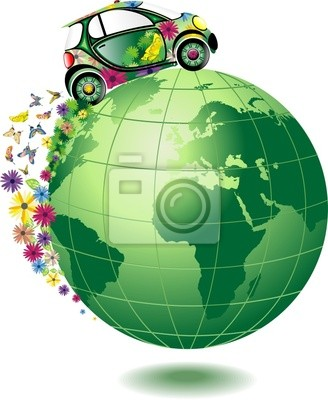 Green Car at the World Car- Vector - Ecological