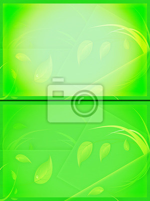 Green conceptual backgrounds with leaves and grass