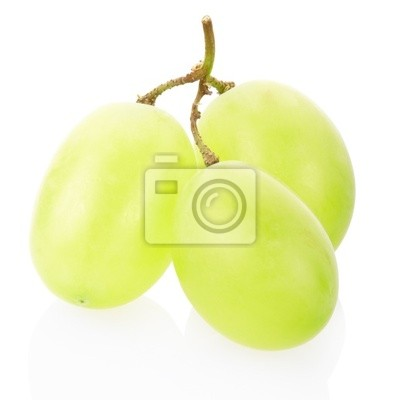 Wall mural Green grape fruit isolated on white, clipping path included