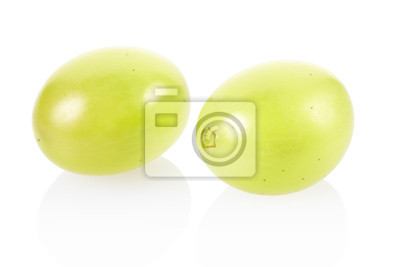 Wall mural Green grapes on white, clipping path included