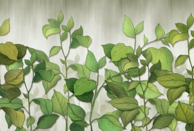 Wall mural Green leaves of a house plant on a wall background. Tropical leaves. for interior printing.