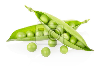 Wall mural Green peas on white, clipping path included