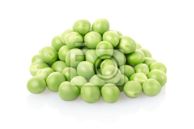 Wall mural Green peas pile isolated, clipping path included