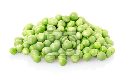 Wall mural Green peas pile on white, clipping path included