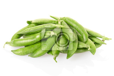 Wall mural Green peas pods on white, clipping path included