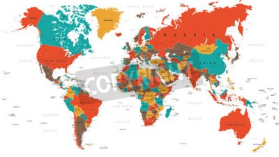 Wall mural Green Red Yellow Brown World Map - borders, countries and cities - illustration