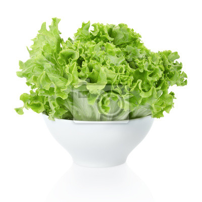 Wall mural Green salad bowl on white, clipping path included
