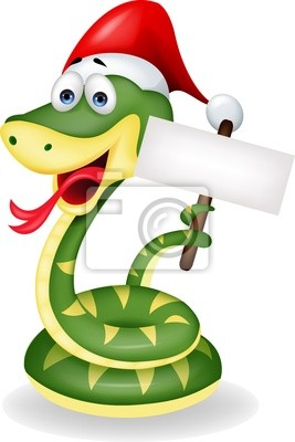 Wall mural Green snake with blank sign