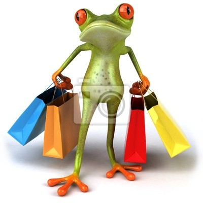 Wall mural Grenouille a shopping