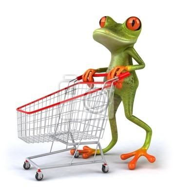 Grenouille fait du shopping