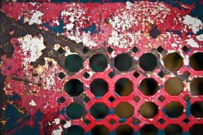 Wall mural Grille métallique rouge