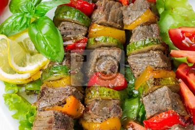 Grilled meat on skewers