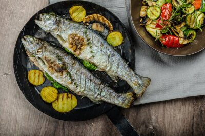 Wall mural Grilled Trout with Mediterranean vegetables