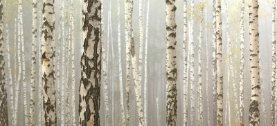 Wall mural Grove of birch trees and dry grass in early autumn, fall panorama