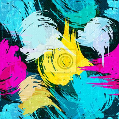 grunge colored graffiti seamless pattern