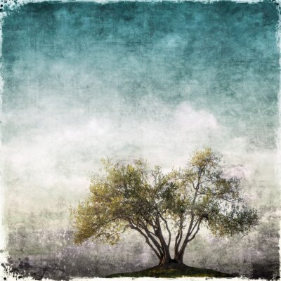 Wall mural Grunge landscape with single tree
