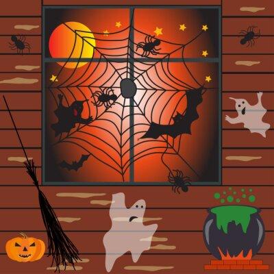 Wall mural Halloween haunted house vector illustration