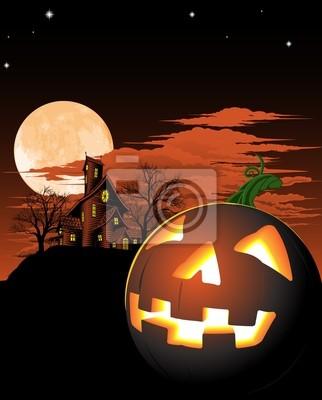 Wall mural Halloween pumpkin background
