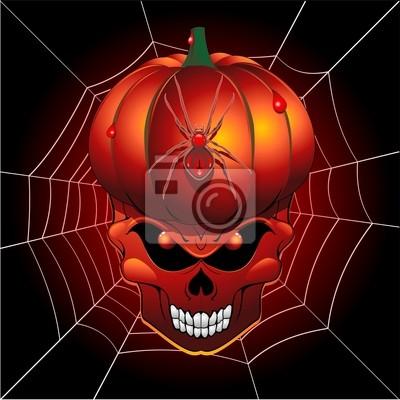Halloween Pumpkin Skull and Spider Web-Teschio Zucca e Ragno