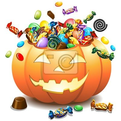 Wall mural Halloween Zucca e Caramelle-Halloween Pumpkin and Candies-Vector