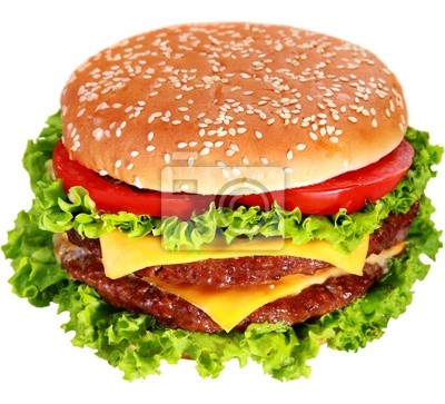 Wall mural hamburger isolated on white