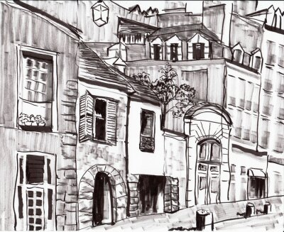 Wall mural hand draw paris building