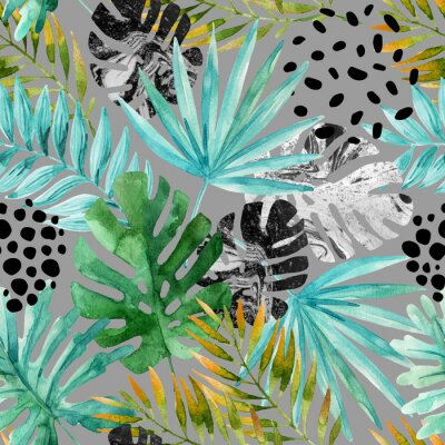 Wall mural Hand drawn abstract tropical summer background