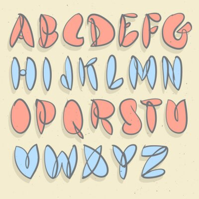 Wall mural Hand Drawn Alphabet. Hand Brushed Unforced Bubble Alphabet.