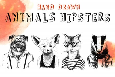 Wall mural Hand drawn animals hipsters set