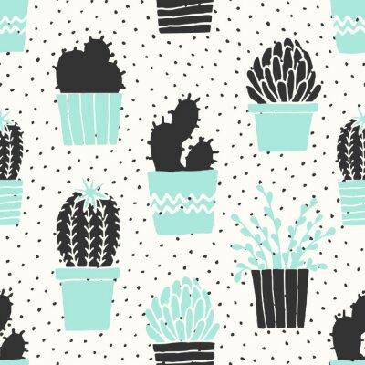 Wall mural Hand Drawn Cactus Pattern