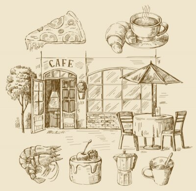 Wall mural hand drawn cafe