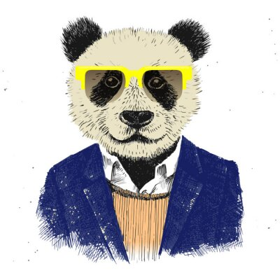Wall mural Hand drawn dressed up hipster panda
