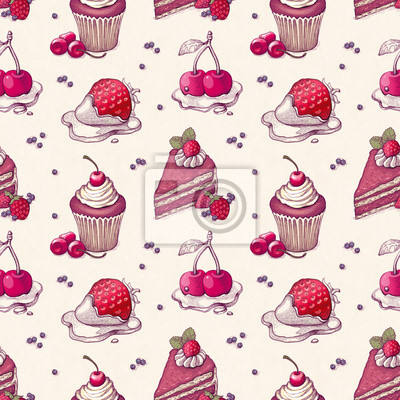 Wall mural Hand drawn pattern with cake illustrations