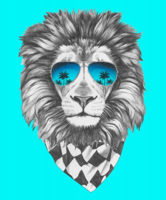 Wall mural Hand drawn portrait of Lion with sunglasses and scarf. Vector isolated elements.