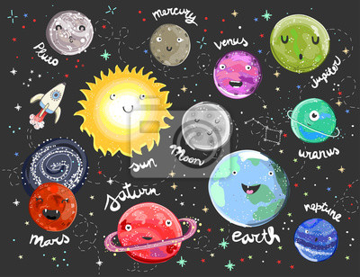 Wall mural Hand drawn solar system with funny faces. Colorful vector illustration