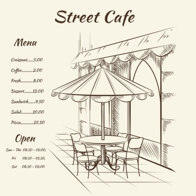 Wall mural Hand drawn street cafe background