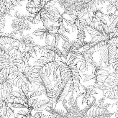 Wall mural Hand Drawn Tropical Plants Pattern