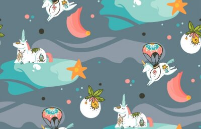 Wall mural Hand drawn vector abstract graphic creative cartoon illustrations seamless pattern with cosmonaut unicorns with old school tattoo,comets and planets in cosmos isolated on dark background