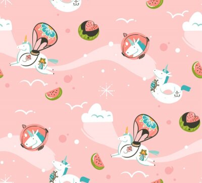 Wall mural Hand drawn vector abstract graphic creative cartoon illustrations seamless pattern with cosmonaut unicorns with old school tattoo,comets and planets in cosmos isolated on pink background