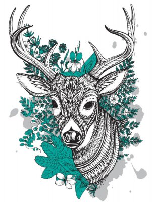 Wall mural Hand drawn vector horned deer with  high details ornament